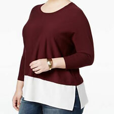Top 3X Style&Co $70 NWT Vintage Soul Dried Plum/Maroon White Layered Look BL