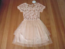 LADIES PINK CROCHET PARTLINED POLYCOTTON SHORT SLEEVE DRESS BY DAZZLING SZ 8 NWT