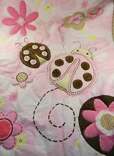 Just Born Crib Baby Quilt Pink Lady Bugs Flowers Ex. Condition