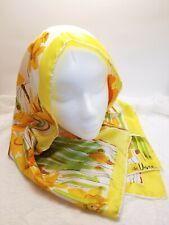 """Vintage VERA NEUMANN Scarve 45"""" x 14"""" Flowers Artist Design Yellow Orange Green"""