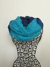 Two in one scarf with burnished trims Blue/Turquoise