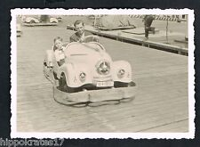Foto vintage photo, auto padre hijo carrusel car father son gokart scooter/44x
