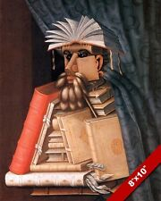 WEIRD BOOK FACE BODY PORTRAIT PAINTING LIBRARIAN LIBRARY ART REAL CANVAS PRINT