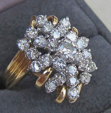 HUGE 3.0 CARAT DIAMOND CLUSTER 14K YELLOW GOLD OVER 925 SILVER COCKTAIL RING