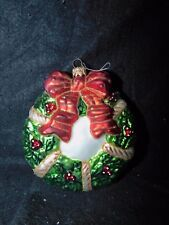 Large Marked Poland Glass Christmas Wreath Ornament