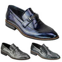 Mens Smart Patent Leather Lined Loafers Slip on Formal Wedding Shiny Dress Shoes
