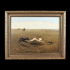 Antique oil painting oil on canvas ,hunting scene dog(s) chasing a rabbit frame
