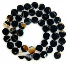 8mm Black Striated Agate Coin Beads 15""