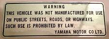 YAMAHA TT500 TY80 TY175 TY250 YZ250 YZ400 YZ465 POSTERIORE PARAFANGO Caution