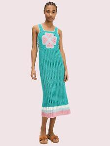 Kate Spade NY spade flower crochet linen blend dress Fiji green Sz XL NWT$498