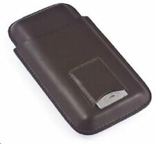 3 Cigar Case ~ Brown Leather 3 Cigar Case with Build-In Pouch with Cutter