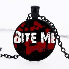 Bite Me Graphics Photo Glass Dome black Chain Pendant Necklace,Wholesale