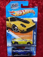 2010 Hot Wheels Hot Auction Callaway C7 Yellow/Blue Variant Color/Cardback 2 PK
