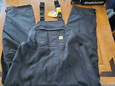 NWT Carhartt Men's Shoreline Waterproof Breathable Bib Overalls Black XL Short