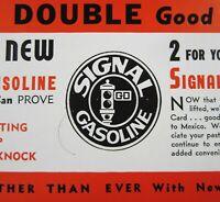 Vintage Signal Gasoline Oil Advertising Ink Blotter Gas Station Credit Card 1950