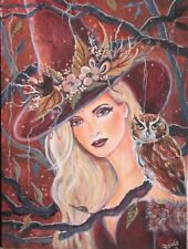 ORIGINAL HALLOWEEN ART PIN UP ILLUSTRATION PAINTING OF LOVELY YOUNG WOMAN WITCH