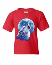 Call of the Wild Youth T-Shirt Lone Wolf Howling at the Moon Wildlife Kids Tee