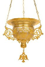 """11.8"""" Large Size Bicolor Engraved Byzantine Gold-Plated Orthodox Vigil Oil Lamp"""