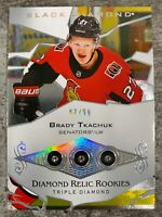 2018-19 UD BLACK DIAMOND BRADY TKACHUK TRIPLE ROOKIE RELICS OTTAWA SENATORS /99