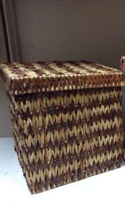 Jute Seagrass Toy Bathroom Storage Organizer Basket Lid Light Brown 13x13x13 Med