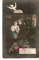 Carte postale photo teintée Lettonie PSR joyeux Noël Bonne Année femme homme ros