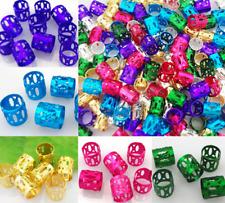 50x Adjustable Dreadlock Metal Hair Braid Cuff Tube Beads Rasta Wrap-Many color-
