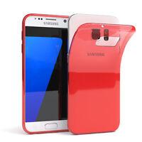 Ultra Slim Cover für Galaxy S7 Case Silikon Hülle Transparent Rot