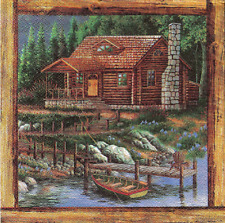 3x napkin Cabin in the woods for collection, decoupage and other crafts