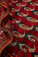 Extraordinary All-Over Paisley Abadeh Hand-made Area Rug Oriental Wool RED 6'x7'