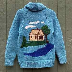 Vintage 1970s Cowichan Zip Up Knit Wool Heavyweight Landscape Sweater Cardigan S