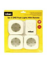 ROLSON 3 PIECE 5 SMD PUSH LIGHT WITH REMOTE Range Up to 8m, Brand New!