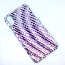For iPhone X Small 12ss CRYSTAL AB Bling Back Case made with Swarovski Crystals
