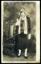 Antique Real Photo Postcard Rppc Black Woman With Hat African American 1920's