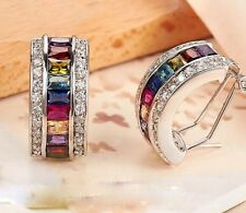 Women Wedding Elegant 925 Silver Multicolor Topaz Ear Stud Hoop Dangle Earrings