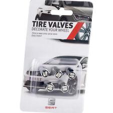 SEAT Ventilkappen Alu Silber mit Logo 5x für Alufelgen Original valve caps