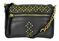 INC INTERNATIONAL CONCEPTS NWT  69 AUBREE Black Brass Studded Zip Crossbody 3fa0045036f85