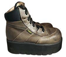 Swear 90's Alternative Brown Leather Platform Truck Boots Goth Punk Eur Size 42