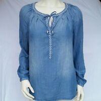 Denim Washed Women's Jean Peasant boho Vintage America Blues shirt/blouse NWT
