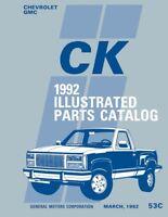 1992 Chevrolet GMC C/K Truck Parts Numbers Book List Guide Catalog Interchange