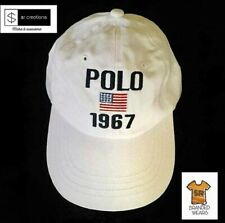 POLO Ralph Lauren 1967 USA FLAG Cotton Men's Hat - White - Strap back Cap