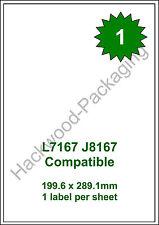 1 Label per Sheet x 50 Sheets L7167 / J8167 White Matt Copier Inkjet Laser