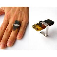Ring, MATT, Silberfassung, 925, schwarzer Bernstein  UNIKAT -NEU -