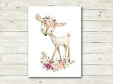 Boho Deer Woodland Nursery Print Wall Art Baby Girl Room Decor Bohemian Fawn