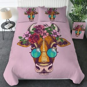 Pink Floral Cow Animal Glasses King Queen Twin Quilt Duvet Pillow Cover Bed Set