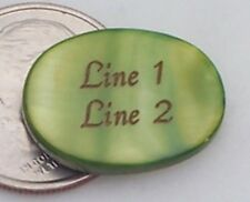 3 - PERSONALIZED Moss Green Oval Mother of Pearl Shell Beads Custom Engraved