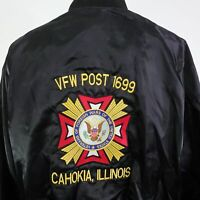 VTG VFW POST 1699 CAHOKIA ILLINOIS VETERAN FULL ZIP UP USA SATIN JACKET MENS 2XL