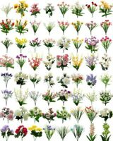NEW 2 Bunches Artificial Flowers Bouquet Fake Bunch Flower Greenery Foliage Rose