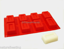 8 Recessed Rectangle Bar Silicone Bakeware Cake Mould Mold Pan Soap Candle Wax