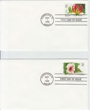 Set of Four Tropical Flowers 33c Stamps First Day Covers