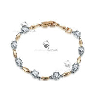 18k yellow white gold gf chain sparkling simulated diamond fashion bracelet